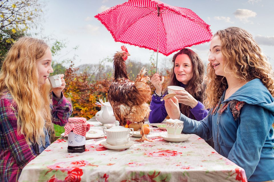 Igor Emmerich, Tangible. Individuality. Mother and teenage daughters have a tea party outside in the rain.Hen on the table